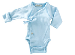 Little Sprout Collection ~ Organic Preemie Clothing ~ Light Blue Long Sleeved Onesie