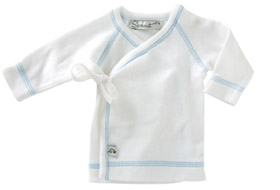 Sprout Collection Premature Clothing ~ Long Sleeved Shirt White with light blue stitching